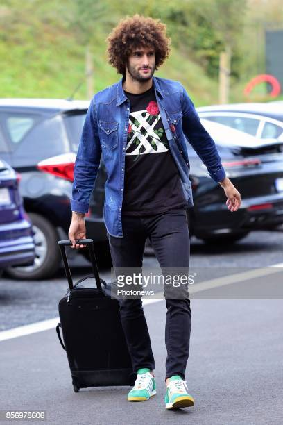 Marouane Fellaini midfielder of Belgium arrives at the Martin's Red hotel prior to the World Cup 2018 qualification games against Bosnia and...