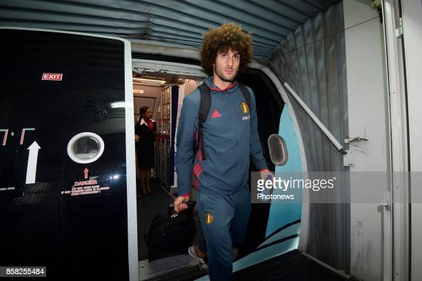 Marouane Fellaini midfielder of Belgium pictured during the arrival of the National Soccer Team of Belgium prior to the 2018 World Cup qualifier...
