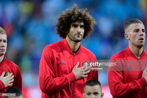 Marouane Fellaini midfielder of Belgium pictured during the national anthem before the World Cup Qualifier Group H match between Bosnia and...