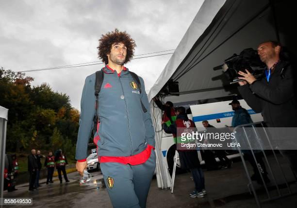 Marouane Fellaini of Belgium arrives prior the FIFA 2018 World Cup Qualifier between Bosnia and Herzegovina and Belgium at stadium Grbavica on...