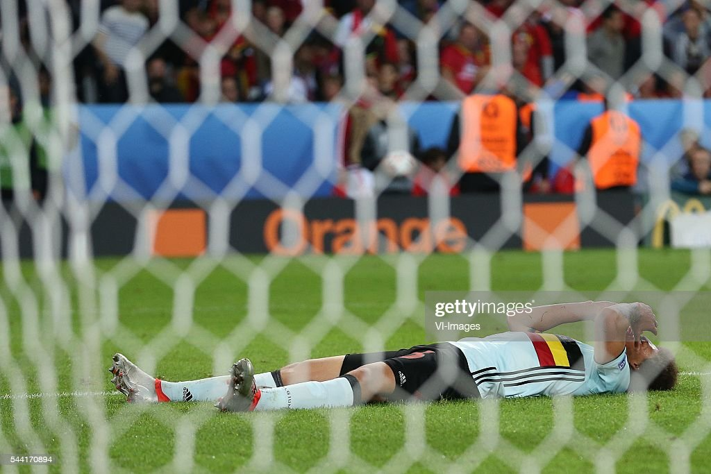 Marouane Fellaini of Belgium disappointed during the UEFA EURO 2016 quarter final match between Wales and Belgium on July 2, 2016 at the Stade Pierre Mauroy in Lille, France.