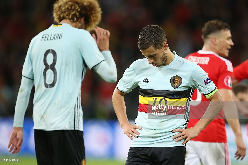Marouane Fellaini of Belgium, Eden Hazard of Belgium disappointed during the UEFA EURO 2016 quarter final match between Wales and Belgium on July 2, 2016 at the Stade Pierre Mauroy in Lille, France.