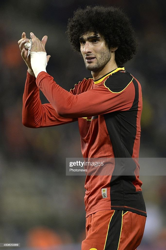Marouane Fellaini of Belgium greets the fans during the international friendly match before the World Cup in Brasil between Belgium and Japan on November 19, 2013 in Brussels, Belgium