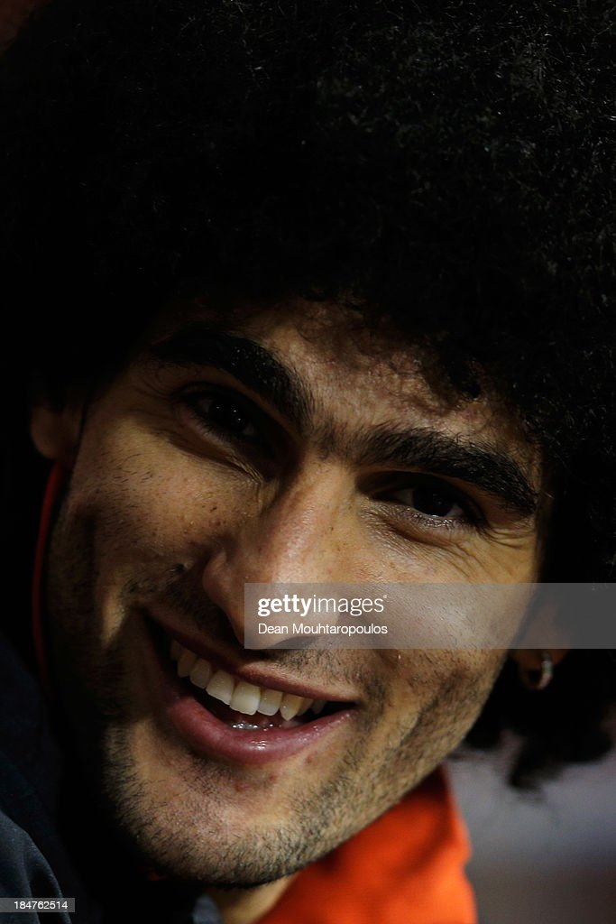 Marouane Fellaini of Belgium looks on prior to the FIFA 2014 World Cup Qualifying Group A match between Belgium and Wales at King Baudouin Stadium on October 15, 2013 in Brussels, Belgium.