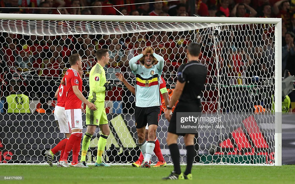 Marouane Fellaini of Belgium reacts after missing a chance to score during the UEFA Euro 2016 quarter final match between Wales and Belgium at Stade Pierre-Mauroy on July 1, 2016 in Lille, France.