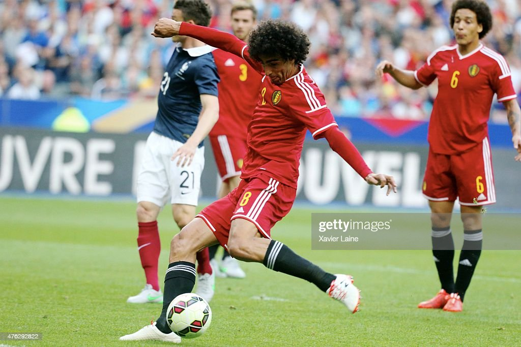 Marouane Fellaini #8 of Belgium scores his second goal during the International Friendly games between France and Belgium at Stade de France on june 7, 2015 in Paris, France.