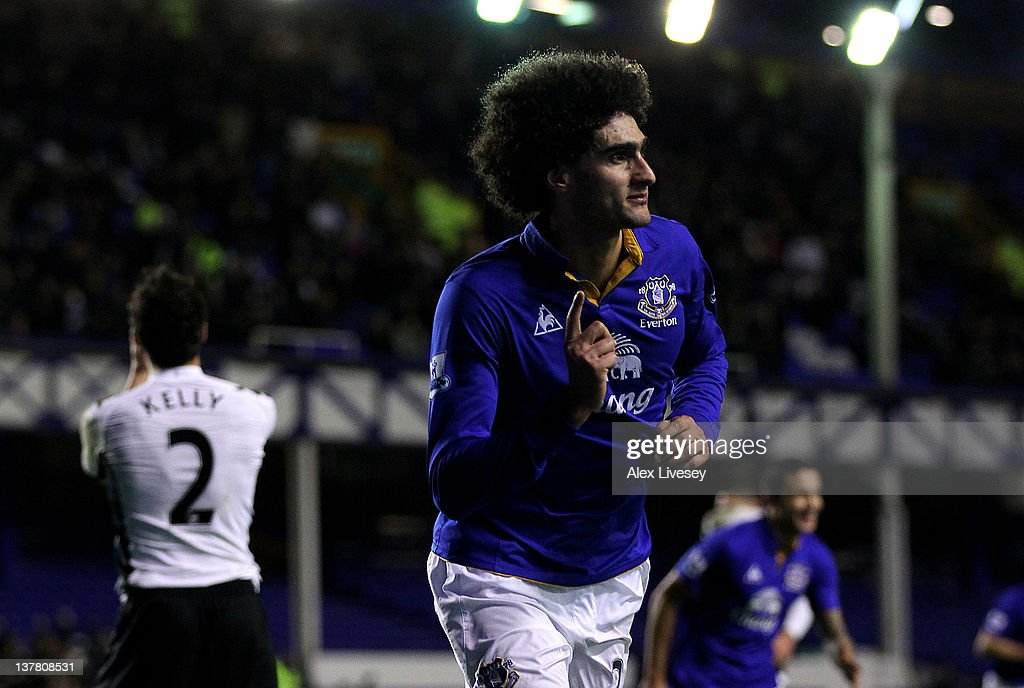 <a gi-track='captionPersonalityLinkClicked' href=/galleries/search?phrase=Marouane+Fellaini&family=editorial&specificpeople=3936316 ng-click='$event.stopPropagation()'>Marouane Fellaini</a> of Everton celebrates scoring his team's second goal during the FA Cup Fourth Round match between Everton and Fulham at Goodison Park on January 27, 2012 in Liverpool, England.