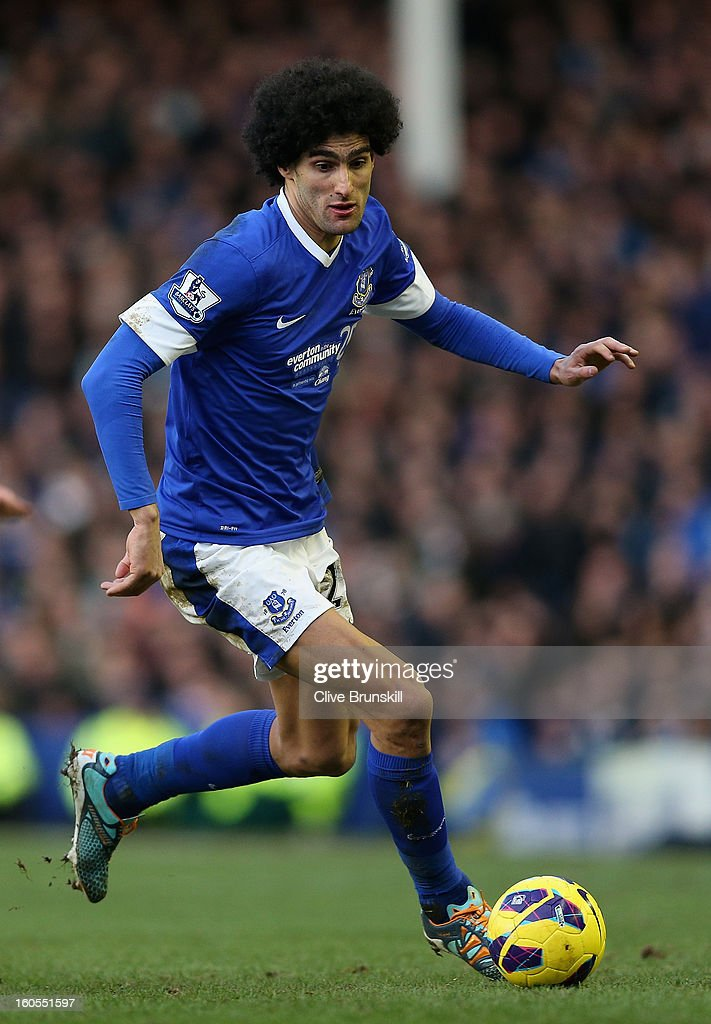 Marouane Fellaini of Everton in action during the Barclays Premier League match between Everton and Aston Villa at Goodison Park on February 2, 2013 in Liverpool, England.