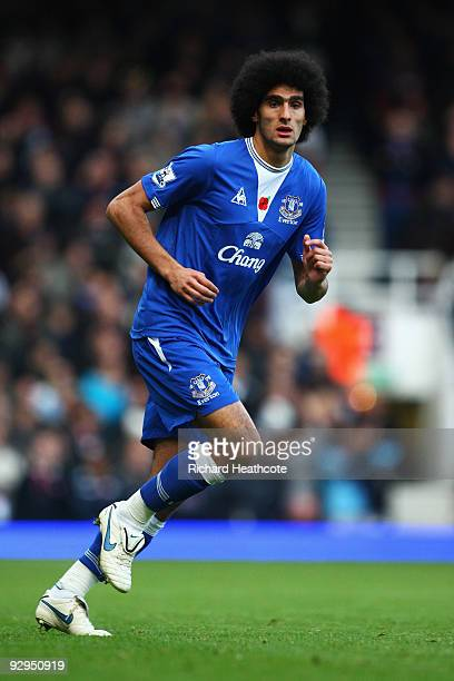 Marouane Fellaini of Everton in action during the Barclays Premier League match between West Ham United and Everton at Upton Park on November 8 2009...