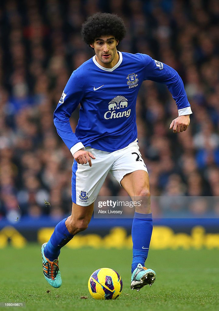 Marouane Fellaini of Everton runs with the ball during the Barclays Premier League match between Everton and Swansea City at Goodison Park on January 12, 2013 in Liverpool, England.