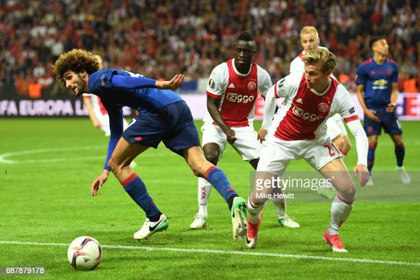 Marouane Fellaini of Manchester United and Frenkie de Jong of Ajax battle for possession during the UEFA Europa League Final between Ajax and...