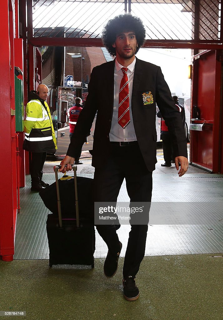Marouane Fellaini of Manchester United arrives at Old Trafford ahead of the Barclays Premier League match between Manchester United and Leicester City at Old Trafford on May 1, 2016 in Manchester, England.