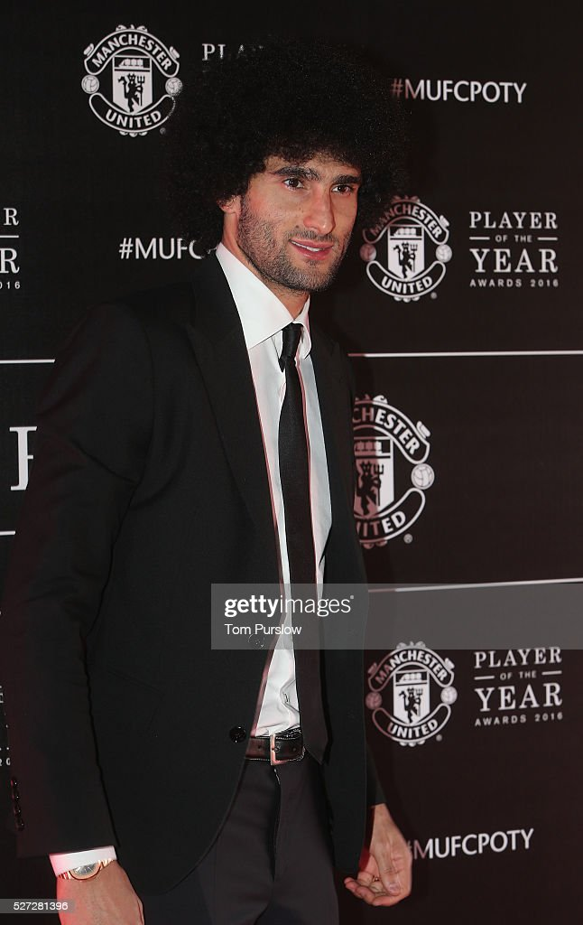 Marouane Fellaini of Manchester United arrives at the club's annual Player of the Year awards at Old Trafford on May 2, 2016 in Manchester, England.