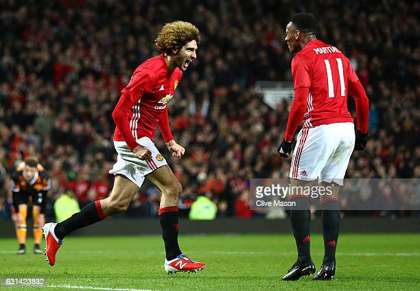 Marouane Fellaini of Manchester United celebrates after scoring his sides second goal his sides second goal during the EFL Cup SemiFinal First Leg...