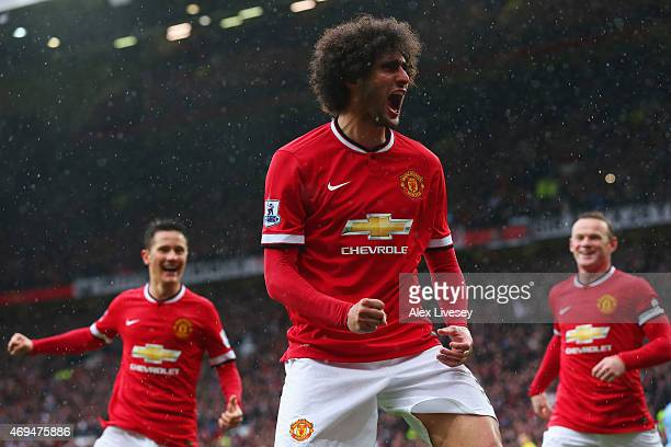 Marouane Fellaini of Manchester United celebrates as he scores their second goal with a header during the Barclays Premier League match between...