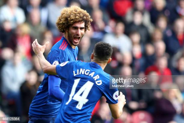 Marouane Fellaini of Manchester United celebrates scoring his sides first goal with Jesse Lingard of Manchester United during the Premier League...