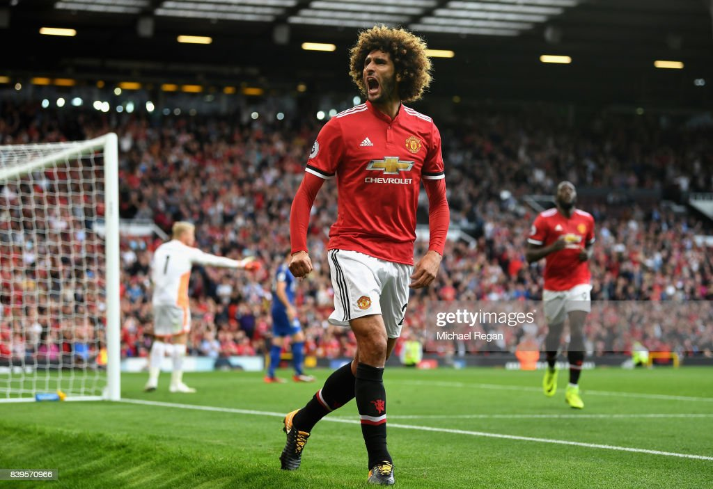 Marouane Fellaini of Manchester United celebrates scoring his sides second goal during the Premier League match between Manchester United and Leicester City at Old Trafford on August 26, 2017 in Manchester, England.