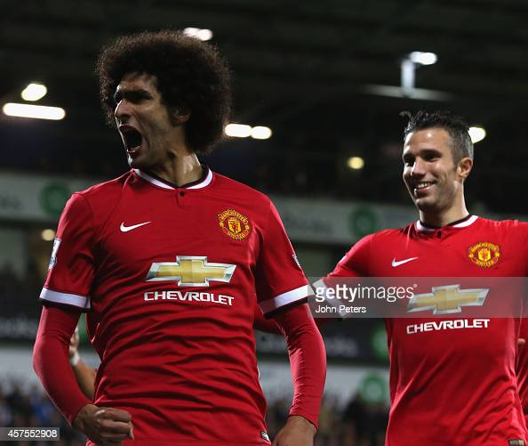 Marouane Fellaini of Manchester United celebrates scoring their first goal during the Barclays Premier League match between West Bromwich Albion and...