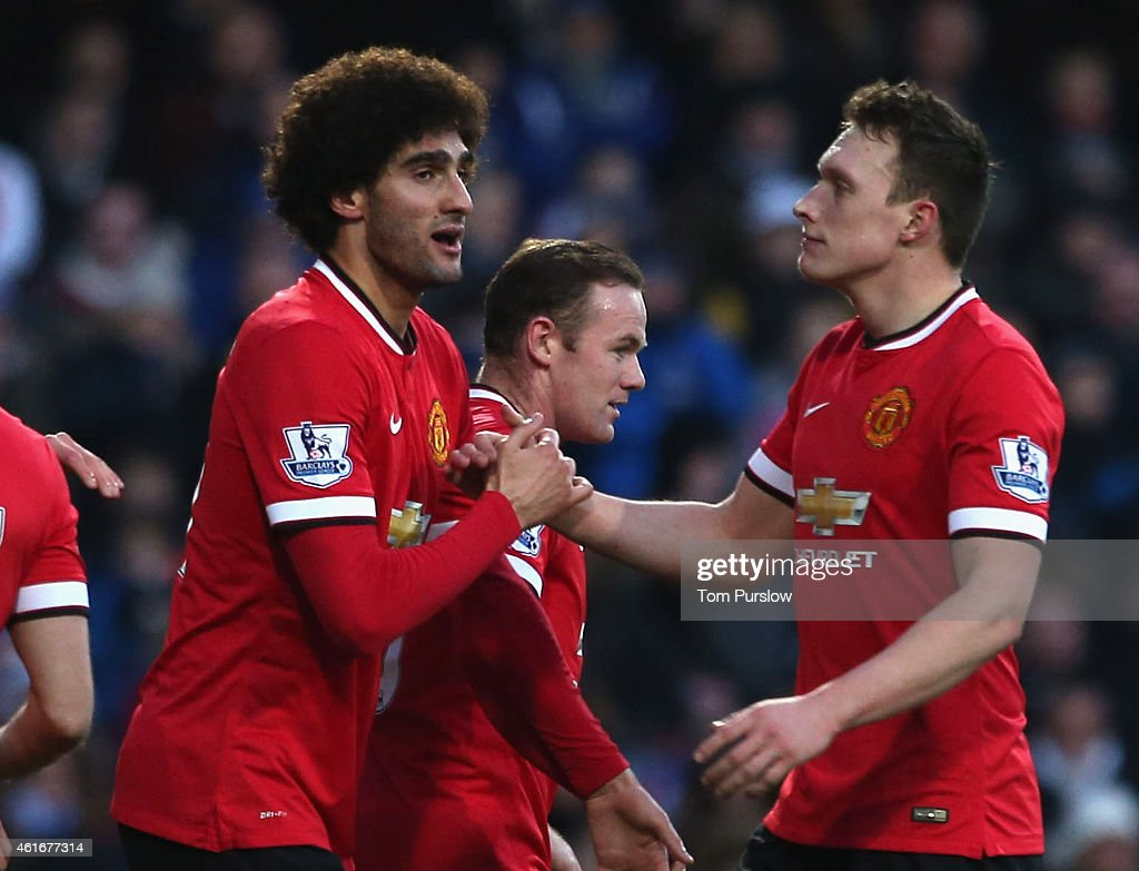 <a gi-track='captionPersonalityLinkClicked' href=/galleries/search?phrase=Marouane+Fellaini&family=editorial&specificpeople=3936316 ng-click='$event.stopPropagation()'>Marouane Fellaini</a> of Manchester United celebrates scoring their first goal during the Barclays Premier League match between Queens Park Rangers and Manchester United at Loftus Road on January 17, 2015 in London, England.