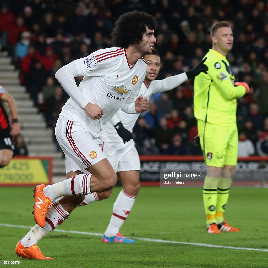 Marouane Fellaini of Manchester United celebrates scoring their first goal during the Barclays Premier League match between AFC Bournemouth and...