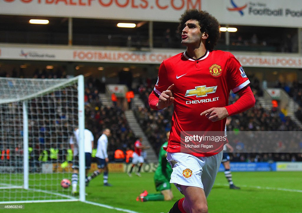 <a gi-track='captionPersonalityLinkClicked' href=/galleries/search?phrase=Marouane+Fellaini&family=editorial&specificpeople=3936316 ng-click='$event.stopPropagation()'>Marouane Fellaini</a> of Manchester United celebrates scoring their second goal during the FA Cup Fifth round match between Preston North End and Manchester United at Deepdale on February 16, 2015 in Preston, England