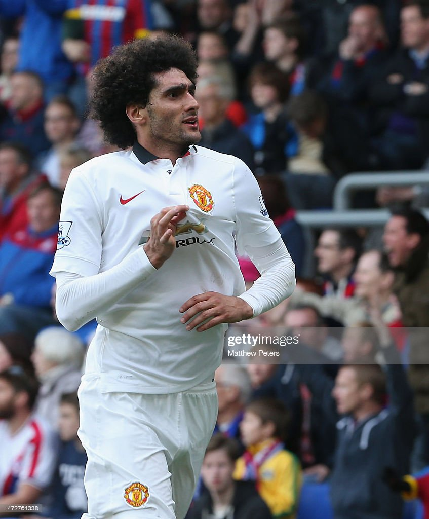 Marouane Fellaini of Manchester United celebrates scoring their second goal during the Barclays Premier League match between Crystal Palace and...