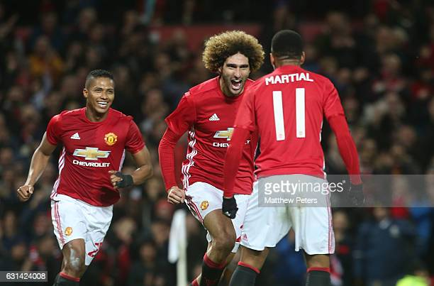 Marouane Fellaini of Manchester United celebrates scoring their second goal during the EFL Cup SemiFinal first leg match between Manchester United...