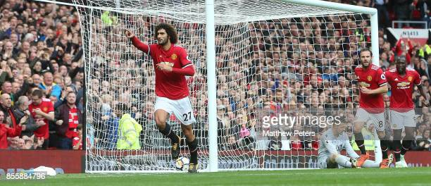 Marouane Fellaini of Manchester United celebrates scoring their second goal during the Premier League match between Manchester United and Crystal...