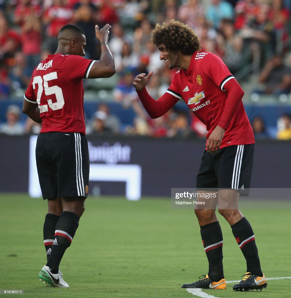 Marouane Fellaini of Manchester United celebrates scoring their third goal during the pre-season friendly match between LA Galaxy and Manchester United at StubHub Center on July 15, 2017 in Carson, California.