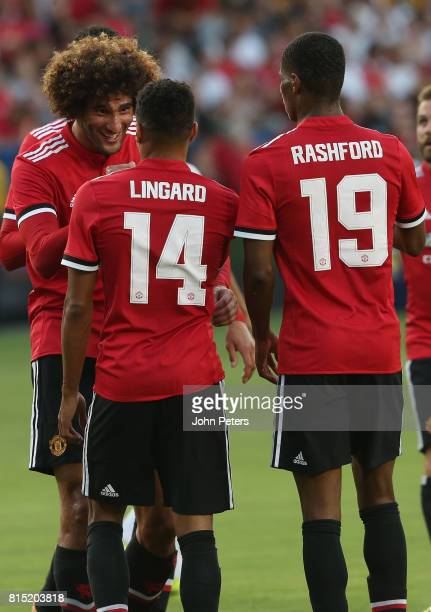 Marouane Fellaini of Manchester United celebrates scoring their third goal during the preseason friendly match between LA Galaxy and Manchester...