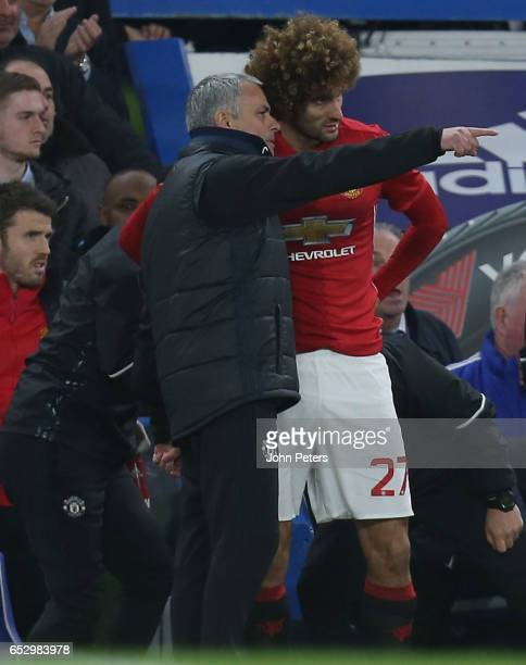 Marouane Fellaini of Manchester United comes on as a substitute after the sendingoff of Ander Herrera during the Emirates FA Cup QuarterFinal match...