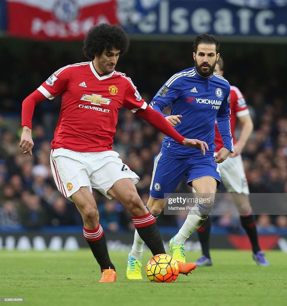 <a gi-track='captionPersonalityLinkClicked' href=/galleries/search?phrase=Marouane+Fellaini&family=editorial&specificpeople=3936316 ng-click='$event.stopPropagation()'>Marouane Fellaini</a> of Manchester United in action with Cesc Fabregas of Chelsea during the Barclays Premier League match between Chelsea and Manchester United at Stamford Bridge on February 7 2016 in London, England.