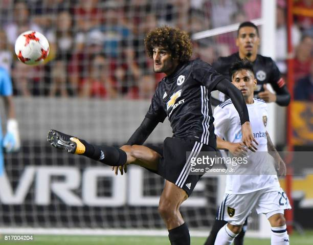 Marouane Fellaini of Manchester United kicks the ball in the second half against Real Salt Lake in the International friendly game at Rio Tinto...