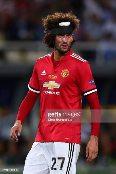 Marouane Fellaini of Manchester United looks on during the UEFA Super Cup match between Real Madrid and Manchester United at National Arena Filip II...