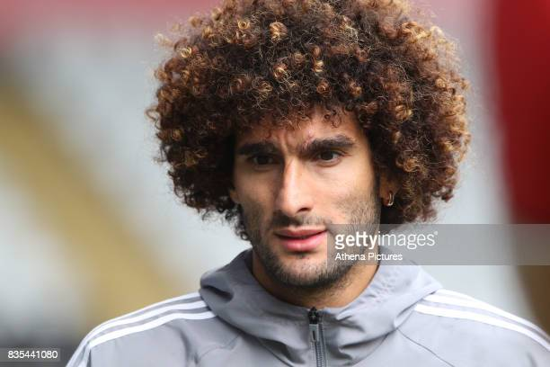 Marouane Fellaini of Manchester United prior to kick off of the Premier League match between Swansea City and Manchester United at The Liberty...