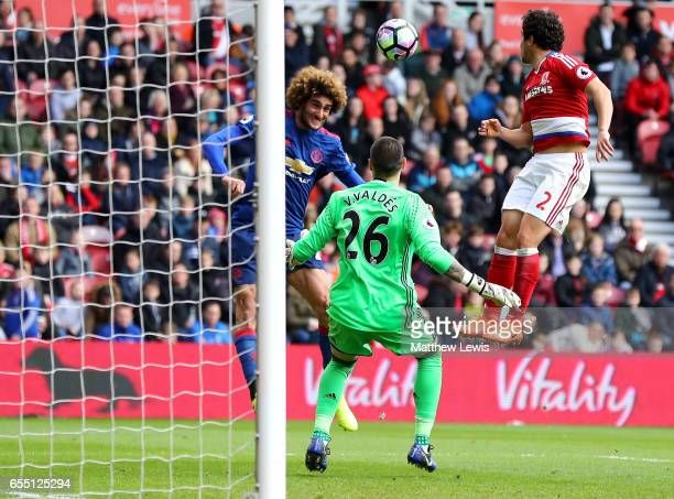 Marouane Fellaini of Manchester United scores his sides first goal during the Premier League match between Middlesbrough and Manchester United at...