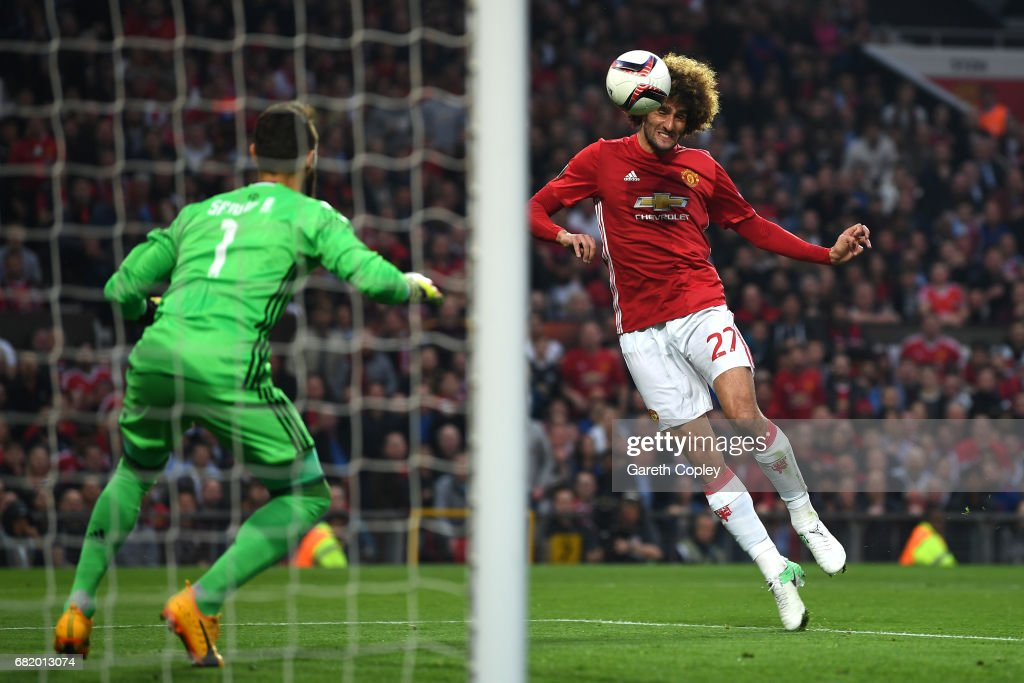 Marouane Fellaini of Manchester United scores his sides first goal during the UEFA Europa League, semi final second leg match, between Manchester United and Celta Vigo at Old Trafford on May 11, 2017 in Manchester, United Kingdom.