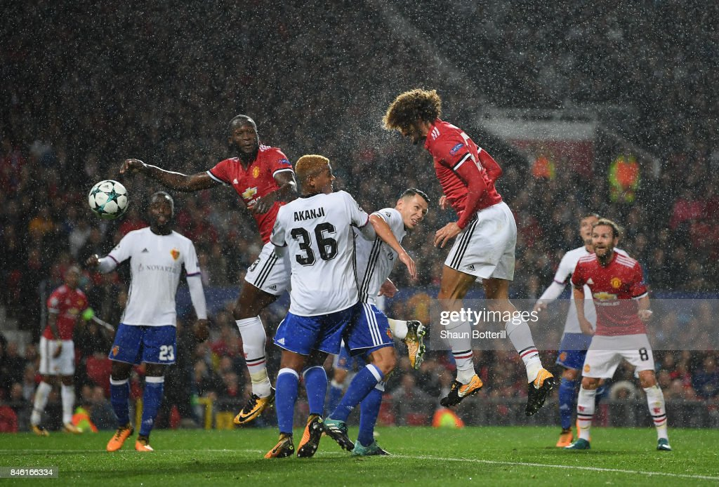 Marouane Fellaini of Manchester United scores his sides first goal during the UEFA Champions League group A match between Manchester United and FC Basel at Old Trafford on September 12, 2017 in Manchester, United Kingdom.
