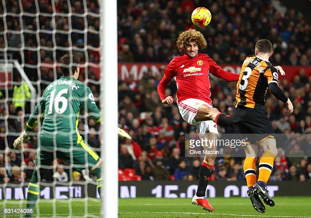 Marouane Fellaini of Manchester United scores his sides second goal during the EFL Cup SemiFinal First Leg match between Manchester United and Hull...