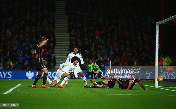 Marouane Fellaini of Manchester United scores his team's first goal during the Barclays Premier League match between AFC Bournemouth and Manchester...