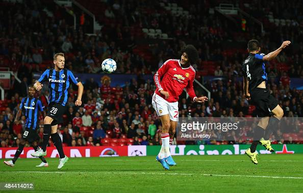 Marouane Fellaini of Manchester United scores his team's third goal during the UEFA Champions League Qualifying Round Play Off First Leg match...
