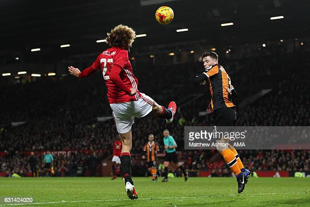 Marouane Fellaini of Manchester United scores the second goal to make the score 20 during the EFL Cup SemiFinal first leg match between Manchester...