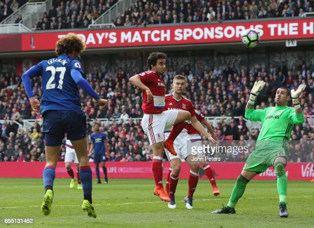 Marouane Fellaini of Manchester United scores their first goal during the Premier League match between Middlesbrough and Manchester United at...