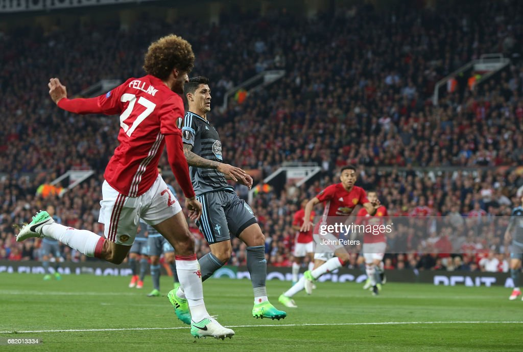 Marouane Fellaini of Manchester United scores their first goal during the UEFA Europa League, semi final second leg match, between Manchester United and Celta Vigo at Old Trafford on May 11, 2017 in Manchester, United Kingdom.