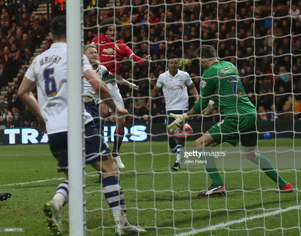 Marouane Fellaini of Manchester United scores their second goal during the FA Cup Fifth Round match between Preston North End and Manchester United at Deepdale on February 16, 2015 in Preston, England.