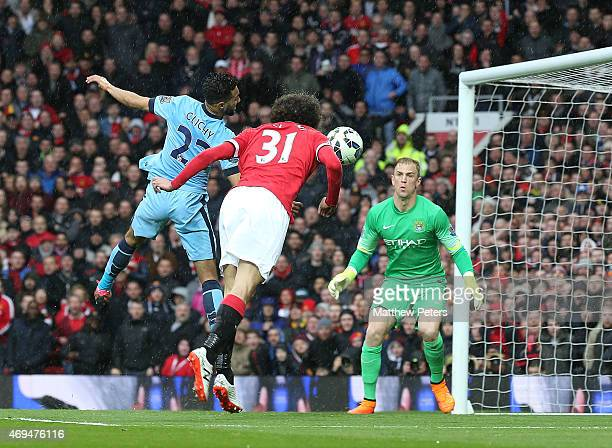 Marouane Fellaini of Manchester United scores their second goal during the Barclays Premier League match between Manchester United and Manchester...