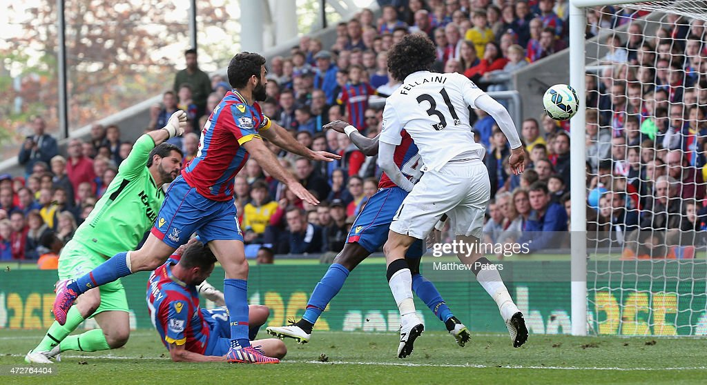 Marouane Fellaini of Manchester United scores their second goal during the Barclays Premier League match between Crystal Palace and Manchester United at Selhurst Park on May 9, 2015 in London, England.