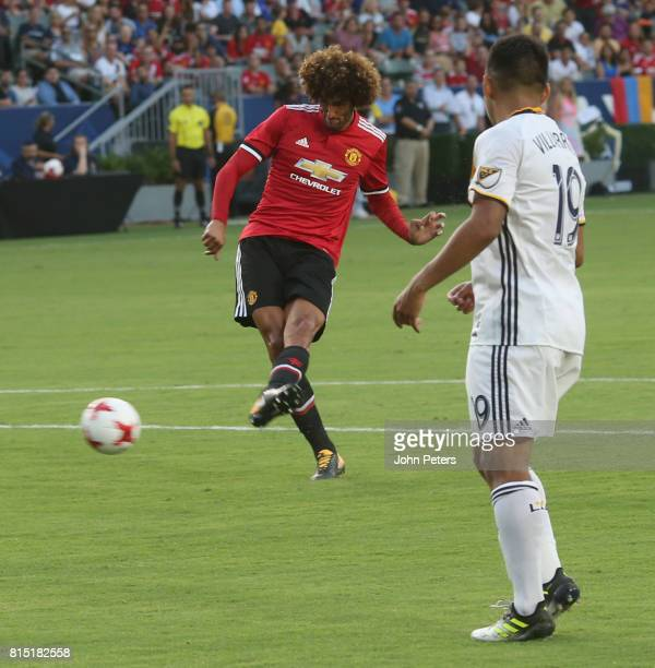 Marouane Fellaini of Manchester United scores their third goal during the preseason friendly match between LA Galaxy and Manchester United at StubHub...