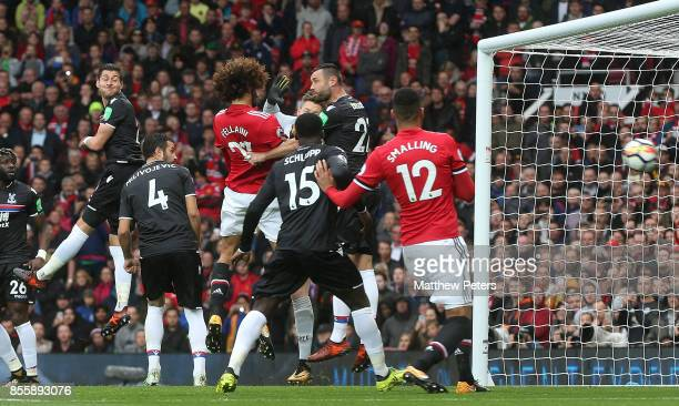 Marouane Fellaini of Manchester United scores their third goal during the Premier League match between Manchester United and Crystal Palace at Old...