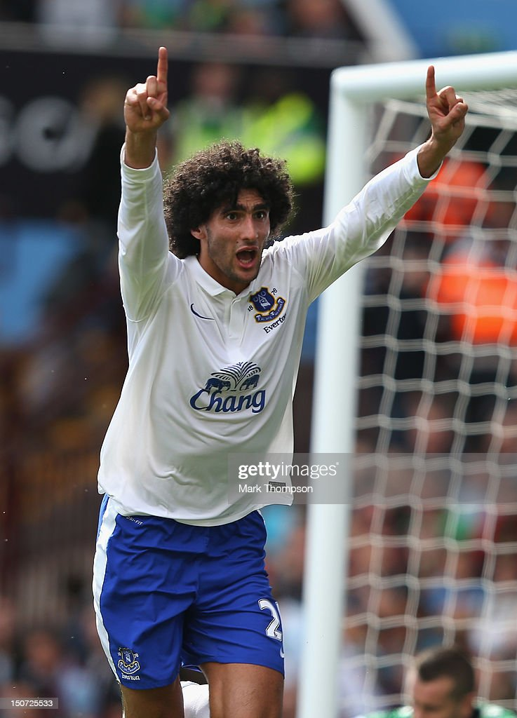 Maroune Fellaini of Everton celebrates his goal during the Barclays Premier league match between Aston Villa and Everton at Villa Park on August 25, 2012 in Birmingham, England.